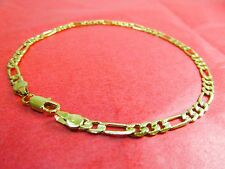 "NEW 14k Karat Gold Filled Diamond Cut Figaro Link 9"" Anklet Ankle Bracelet"