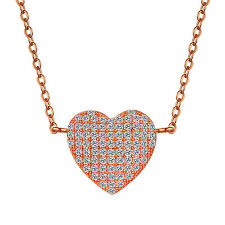 S925 Sterling Silver Pavé Heart Pendant Necklace with Swarovski Element RoseGold