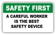 "Safety First Warning Sign Careful Worker Car Bumper Sticker Decal 6"" x 3"""