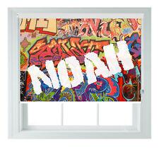 Personalised Graffiti Punk NAMED Kids Black out Roller Blinds Custom print Photo