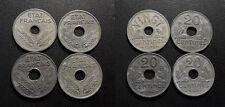 """Etat Français - lot de x4 20 centimes types """"20"""" & """"VINGT""""- 1941 à 1943 !"""