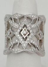"""LADIES DORIS PANOS 18K WHITE GOLD """"TI AMO"""" 1.10ct DIAMOND VS FILIGREE RING 6 1/4"""