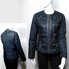 M&S Lightweight PADDED & QUILTED Ruched Collarless JACKET ~ Size 12 ~ BLACK