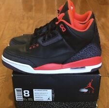 "Good Condition 2013 Air Jordan 3 Retro ""Crimson"" sz 8 Black Cement Whit Cement"