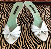 SERGIO ROSSI ITALY WHITE LEATHER  LOGO SANDALS SLIP ON SLIDES W/ HEEL  SZ 36.5