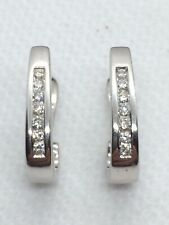 9ct White Gold Diamond Huggy Style Earrings.