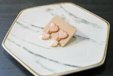 Handcrafted Cute Korean Style Dangling Earring Heart for Women  (Pink)