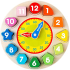 Coogam Wooden Shape Color Sorting Clock   Teaching Time Number Blocks Puzzle S