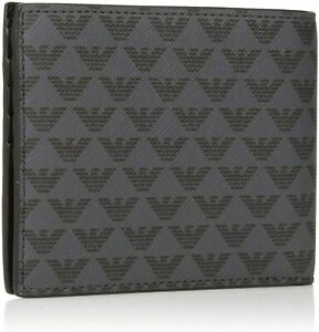 EMPORIO ARMANI NEW Men's Tumbled Leather Bifold Logo Wallet Grey