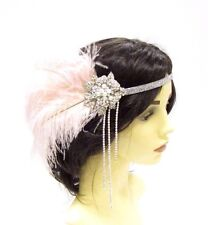 Blush Light Pink Silver Feather Headpiece 1920s Vintage Flapper Headband 2870