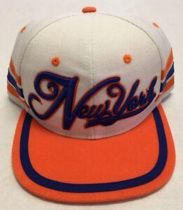 New York Hat Seventy 7even Baseball Cap Flat Billed Cursive Side Stripes White