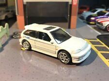 Hot Wheels Custom 1990 Honda Civic EF White W/ Volks Racing TE37 & Rubber Tires