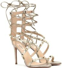 Valentino Rockstud Sandals Metallic Leather Lace Up Ankle Straps Heels 37 US 7