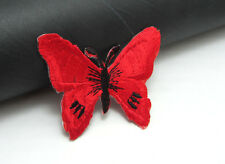 New 2pcs Butterfly  Embroidered Applique Iron On Sew On Patch red