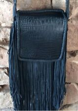 sexy deerskin LONG fringed purse  front hand laced in black goat