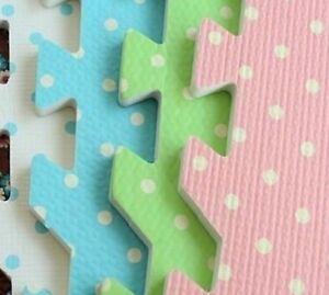 Eva Mat 2ft x 2ft x12mm Blue Polka Dot interlocking soft foam mats tiles x 40