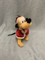 Disneyland Paris - Xmas/Christmas Pluto 8inch Mini Bean Bag Soft Toy With Bell