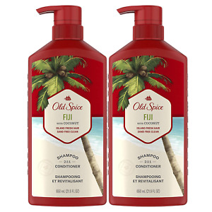 Old Spice Fiji 2in1 Shampoo and Conditioner for Men, Twin Pack, Coconut, 44 Fl O