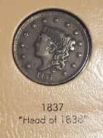 1837 Coronet Head Large Cent, Higher Grade XF Chocolate Brown Color 1C