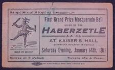 1911 Haberzetle A A 1st Grand Masquerade Ball Ticket Kaiser's Hall Chicago  B4S2