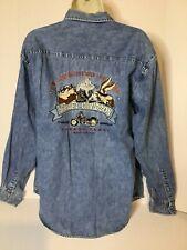 Harley Davidson Warner Bros Denim Shirt Medium Looney Tunes Embroidered Taz Vtg