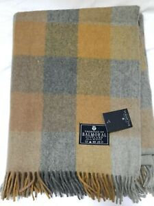 Balmoral Mustard Grey Yellow Block Rug Blanket Scotland Tartan Rug Winter Throw