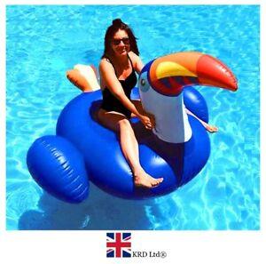 GIANT BLUE TOUCAN INFLATABLE LOUNGER Float Raft Swimming Pool Fun Beach 200cm UK