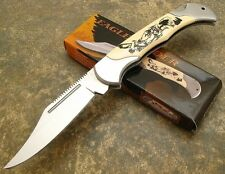 Eagle Art Scrimshaw Style Handle Lockback Folding Hunting Knife