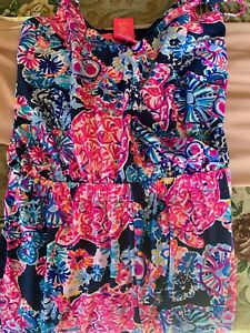 NWT Lilly Pulitzer Dante Jumpsuit Size S High Tide Navy In Turtle Amazement New