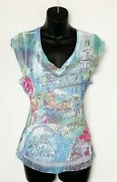 Dress Barn Women's Cap Sleeve Pink & Blue City Scene Top w Sheer Overlay! Sz L