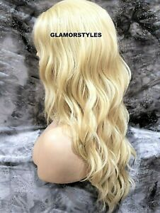 Free Part Human Hair Blend Lace Front Full Wig Long Wavy Layered Bleach Blonde
