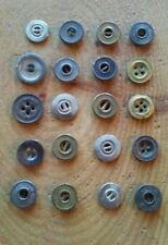 Antique or vintage lot of 20 metal shirt or trouser buttons of various types.