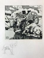 MAURICE DE BECQUE Gravure Eau Forte Art Deco 1930 boeuf vache sacré cow elephant