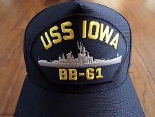 USS IOWA BB-61 U.S NAVY SHIP HAT U.S MILITARY OFFICIAL BALL CAP U.S.A MADE