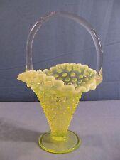 "Fenton Topaz Opalescent Vaseline Glass Hobnail Footed Basket 9"" Tall Item 206"