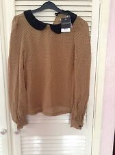 Ladies Brand New With Tag Tan Polka Dot Topshop Blouse UK Size 8