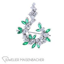 Damen Brosche Smaragd Diamanten