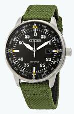 Citizen Eco-Drive Men's Date Calendar Green Nylon Strap 42mm Watch BM7390-31X