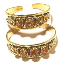 Amber Brass Free Shipping Bangel Cuff Gemstone Jewelry 2pcs