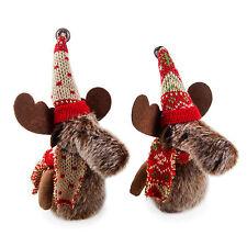Set of Two Hanging Plush Christmas Reindeer Moose Festive Tree Decorations