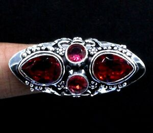 """Mozambique Garnet Gemstone 925 Sterling Silver Jewelry Ring (US) Size-7.80"""""""