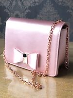 TED BAKER Ladies Pink Satin Looped Bow Clutch Crossbody Evening Bag