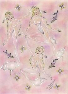 ARTIST NUDE MERMAIDS FEATHERS DOLPHINS HAIR BRAIDS FLOWERS DRAWING PAINTING ART