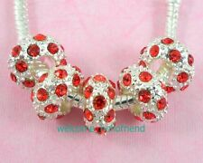 10pcs Red Silver Plated Beads Inlay Crystal Fit European Charm Bracelet SX05