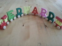 Colour wooden train letters boy girl name christening birthday gift personalised