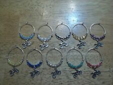 BICYCLE CYCLIST Wine Glass Charms Marker set of 10