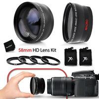58mm Wide Angle + 2x Telephoto Lenses f/ CANON 7D 6D 5D 7D Mark ii 5D Mark ii