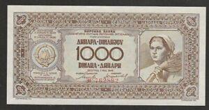 1946 YUGOSLAVIA 1,000 DINARA NOTE UNC