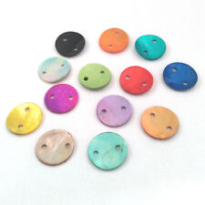 lote de 30 perlas LENTEJUELAS redondas BOTONES 2 AGUJEROS NÁCAR NATURAL 13mm