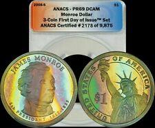 2008-S James Monroe Presidential Dollar ANACS PR69 DCAM Rainbow Blue/Green Toned